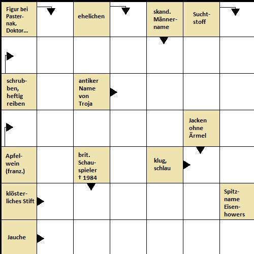 Einfache Kreuzworträtsel
